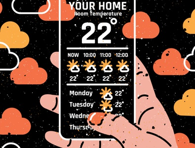 Every day is the same typography sun cloud clouds sunny hand flat illustration flatvector flat uxui ux app iphone weather icon