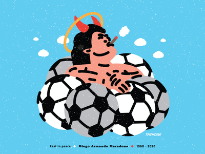 Diego, peace with you man cloud sky angel devil flat illustration vectorart vector flatdesign flaticon icon flat illustration poster fotball ball diegomaradona maradona diego