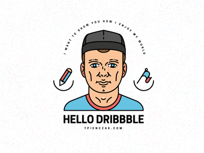 H e l l o _ D r i b b b l e pencil streetwear snapback man portrait typography art vector first invite illustrator illustration