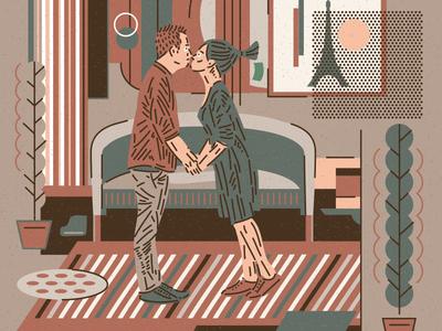 CITY SERIES _ PARIS vectober illustration agency parisian illustrator illustration art icon vector flatdesign interior room brown love couple illustration paris