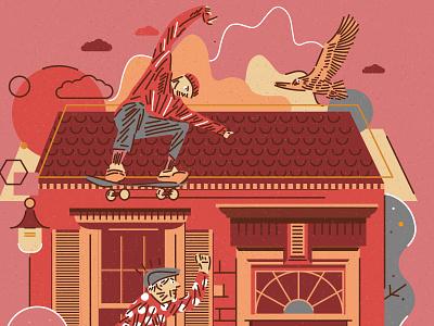 CITY SERIES _ STOCKHOLM art icon icons ipadpro illustrator street shapes flat design illustration city grandfather vector bird eagle skateboard skater skate
