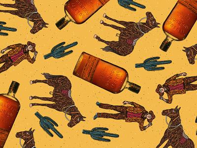 BULLEIT _ BOURBON city love art happy people design man icon flatvector vector illustrator cowboy alcohol pattern illustration cactus wild horse bourbon bulleit