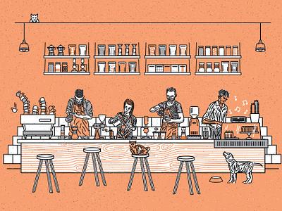 Coffee Lab _ Cafe Vibes illustration packaging vegan cake aeropress chemex barista doggo dog cafespeciality coffee cafe