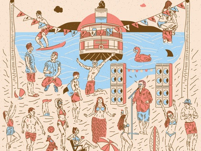 Krzysztof Krawczyk cd cover cd print poster dog dance summer illustrator illustration flat vector sun beach