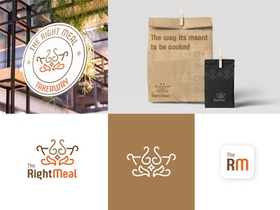 VISUAL IDENTITY - The Right Meal Cloud Kitchen cloud icon meal kitchen fire mockup takeaway delivery food hotel restaurant design visual identity logotype logo branding design branding agency branding brand identity