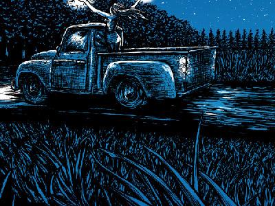 Backroads design illustration blue truck pen ink
