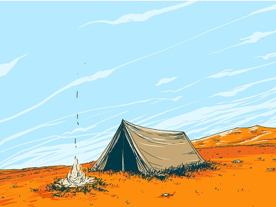 Tent Wip illustration pen ink drawing poster comedy wip tent camping