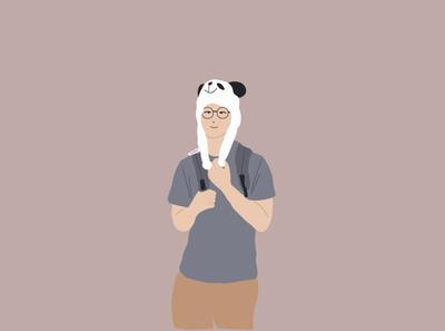 A boy with panda hat illustration graphicdesign illustration art simple illustration illustrator adobeillustator