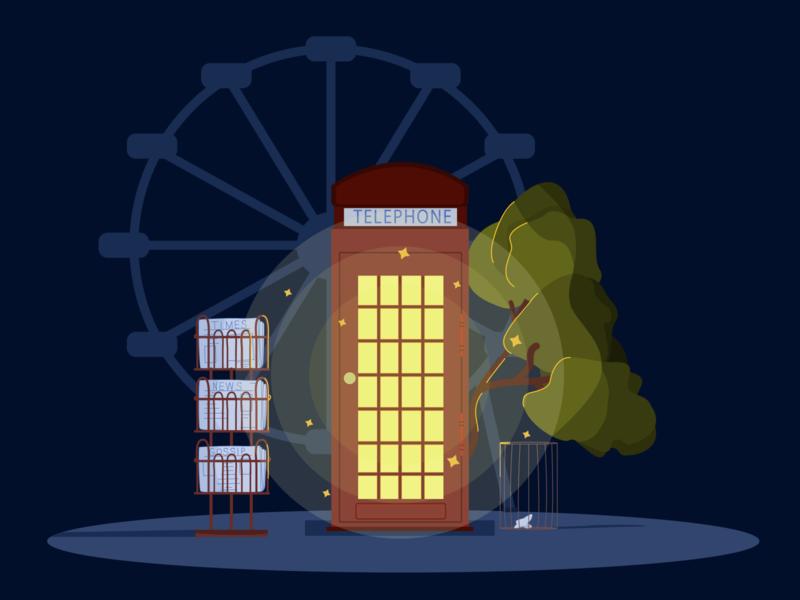 telephone booth branding minimal vector design illustrator illustration art