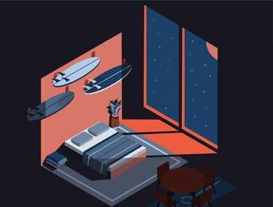 Isometric dream room isometric illustration room isometric branding minimal vector design illustrator illustration art