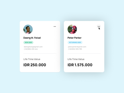 Card Exploration Design - Hovered component component card webdesign hover soft blue blue life time value shadow type soft shadow hovered clean ui cards ui cards
