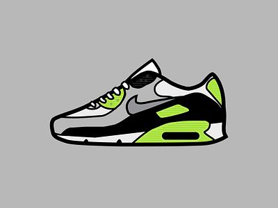 Nike Air Max 90 Volt Sneakers figma design figma illustration vector art green stabillo vector sketch nike air max 90 nike air max shoes