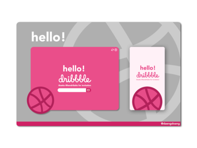 Hello Dribbble! greeting rounded hello pink ux splash screen landing page dribbble ui design debuts