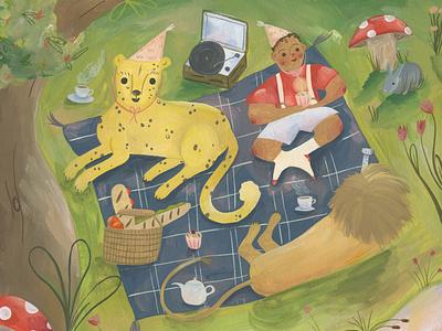 picnic party kids illustration kidlitart illustration gouache fairytale childrens illustration childrens book children book illustration book art book