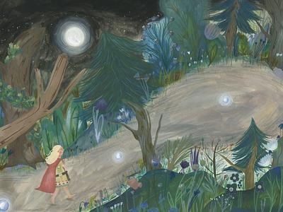 night time wander fairytale kids illustration picture book illustration picturebook kidlitart illustration gouache childrens illustration childrens book children book illustration book art