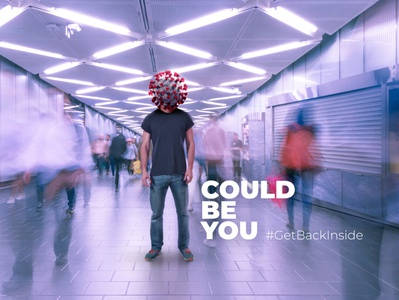 #GetBackInside minimal modern art design art campaign covid image editing portfolio idea design image could be you pandemic photoshop muzli coronavirus covid-19 concept advertisement advert