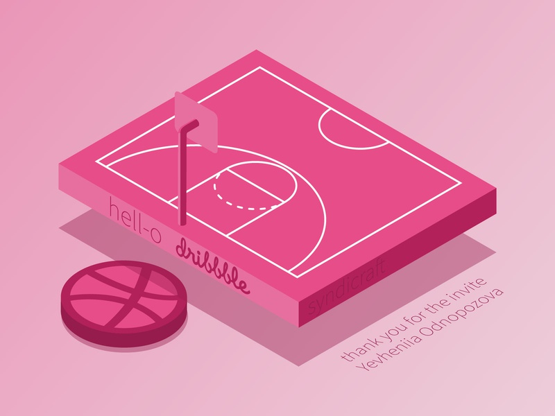 Hello Dribbble, let's play! isometric vector isometric design basketball court basketball illustration isometric vector design vector art vector dribbble invitation dribbble invite invite