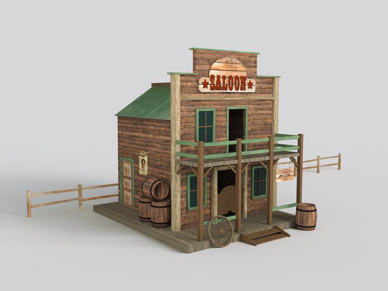 Western Saloon modelling 3d wild west saloon western