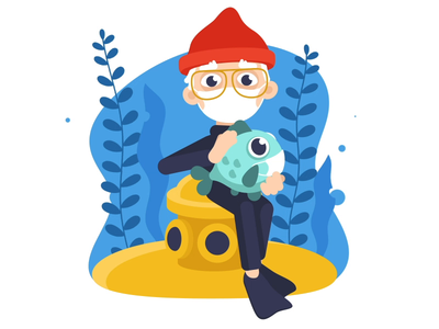 Just Cousteau flat design fish water ocean cousteau animation gif animation ui illustration concept character artua