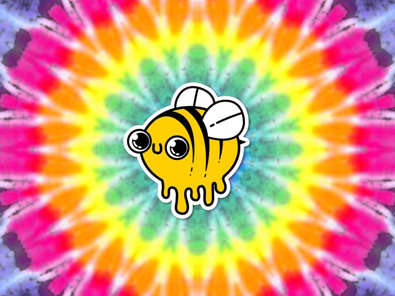 Psychedelic Honey Bee cute psychedelic honey honeybee sticker bee vector illustration design