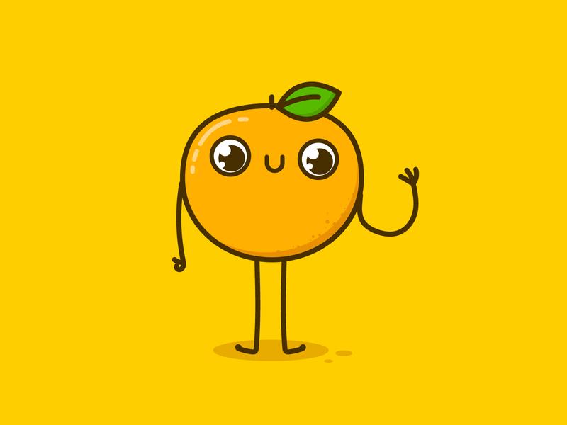 Orange doodle fruit food cute orange vector illustration design