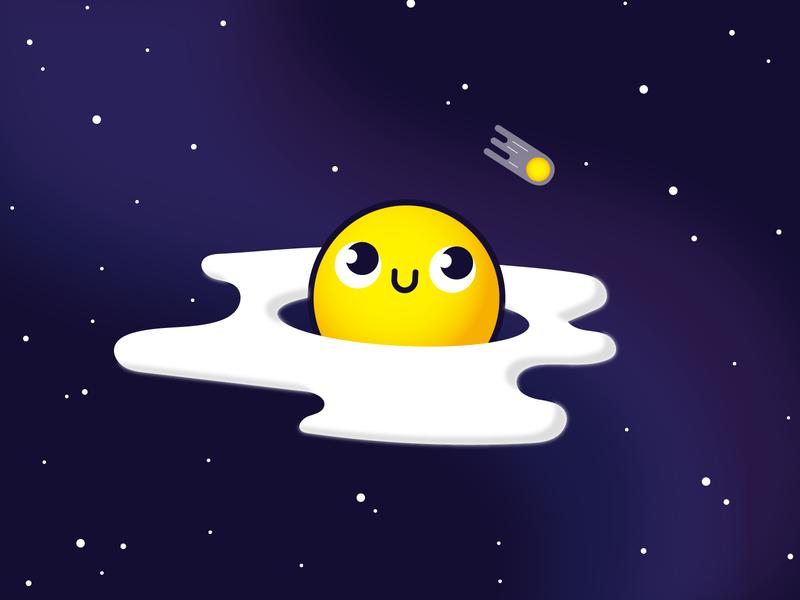 Space Egg pastanick doodle cute space egg food vector illustration design