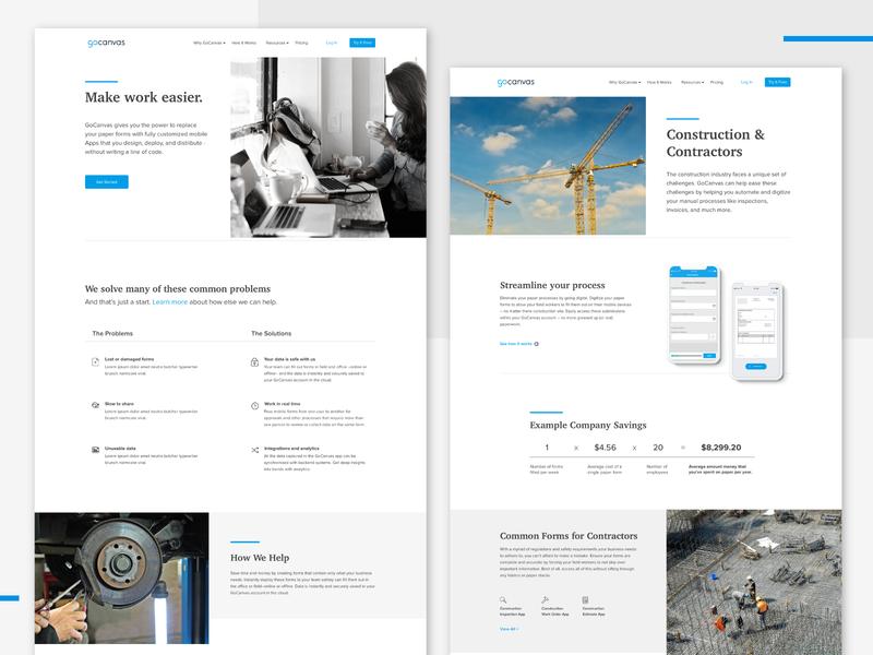 GoCanvas Website Redesign Concept forms website webdesign construction homepage concept gocanvas branding ui design web