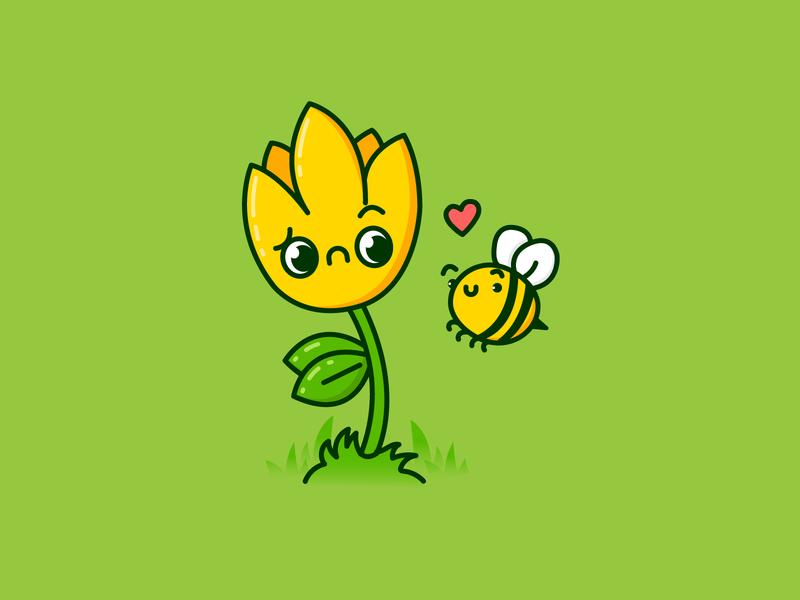 Beeee Mine garden bee love pollen flower spring cute illustration vector design
