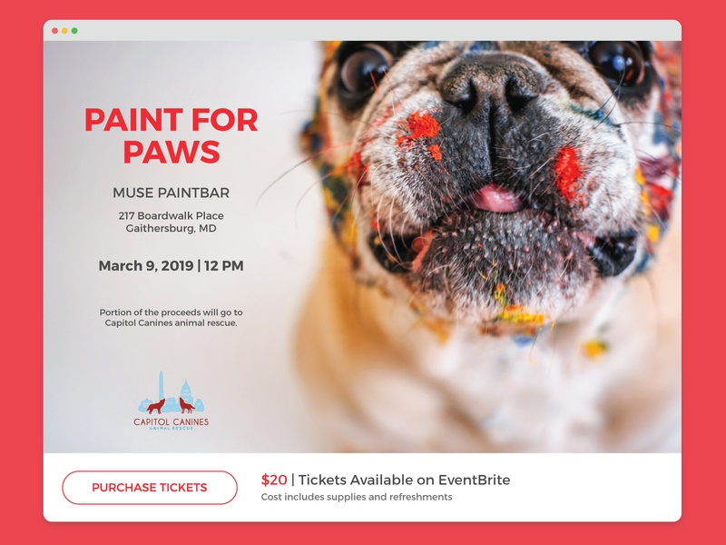 Daily UI | 070 paint tickets event listing canine pets dogs dailyui 070 web daily ui challenge dailyui ui design
