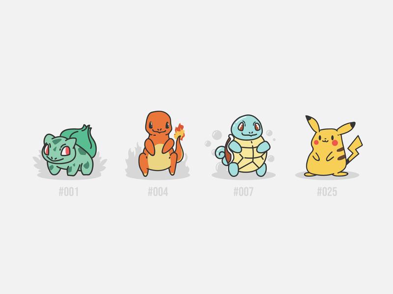 Pokemon Doodles doodles bulbasaur squirtle charmander pikachu pokemon design vector illustration