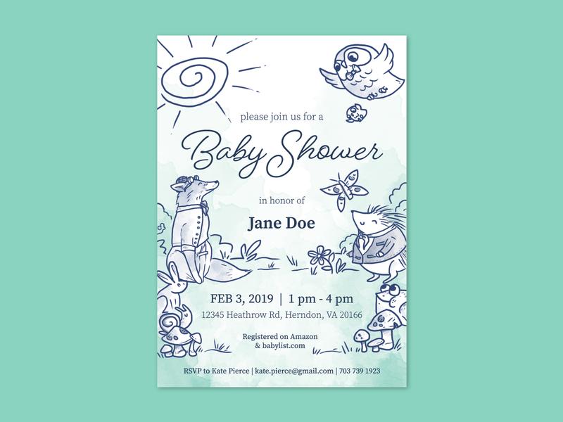 Woodland Animal Baby Shower Invitation dapper invite baby fox owl storybook woodland stationery invitation baby shower illustration design