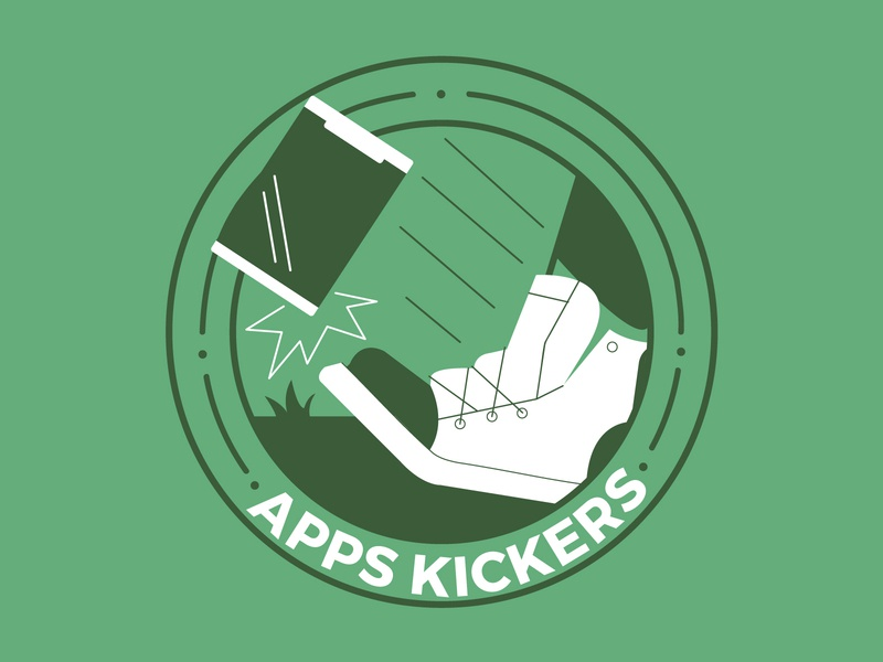 Apps Kickers team tshirt shirt kickball shoe kick apps vector gocanvas illustration design