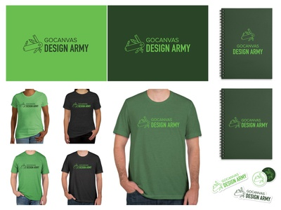 Design Army Branding green notebook shirt internal team branding vector coaster sticker swiss knife swiss army gocanvas design