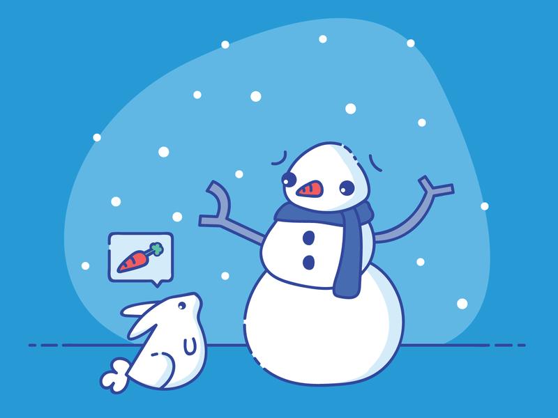 Snow Bunny doodle cute snowflake frosty rabbit bunny cold snowman winter snow vector illustration design