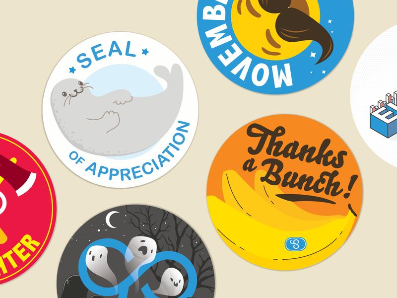 Appreciation Stickers peer cute sticker thank you appreciation thanks bunch bananas seal doodle culture vector design illustration gocanvas