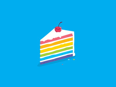 Cake dribbbleweeklywarmup sweets dessert rebound thankful cakery food with faces cherry frosting rainbow cute cake vector illustration design