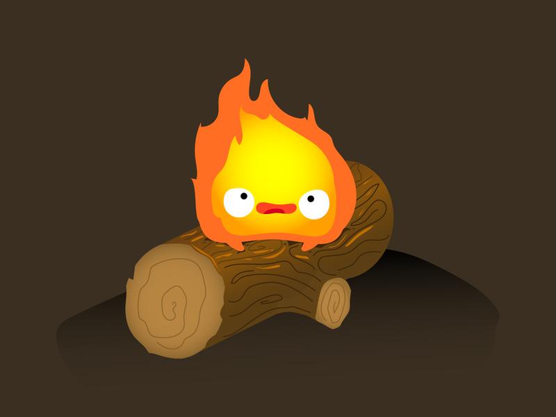 Calcifer doodle design vector cute howls moving castle studio ghibli calcifer fire illustration