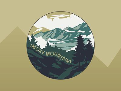 Smoky Mountains Badge graphic badge landscape graphic landscape mountains smoky mountains illustrator typography design graphics illustration national parks logo graphic design