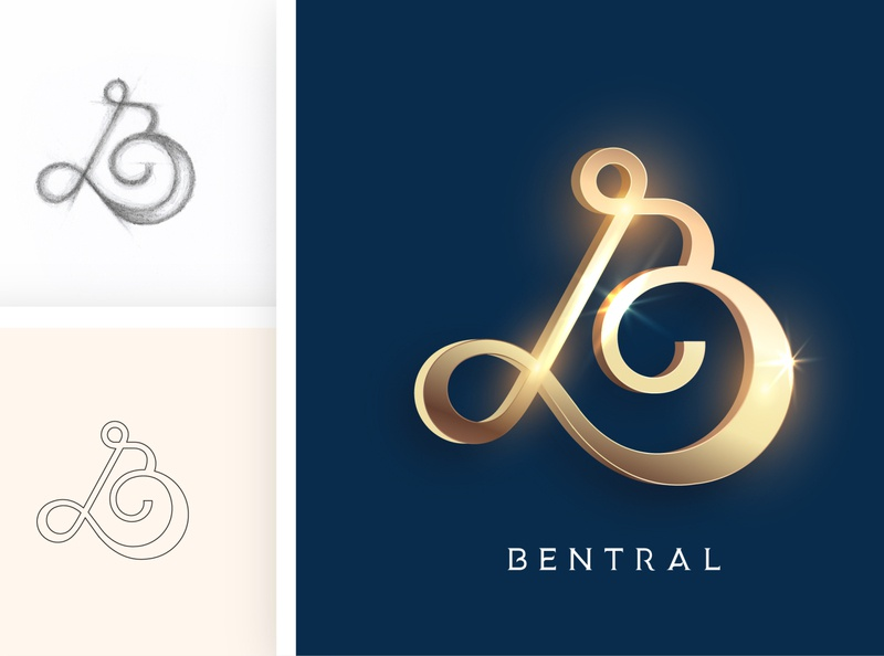 BENTRAL minimal typography type logo illustrator illustration icon flat design branding