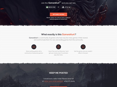 Gamershunt Landing Page clean play share trading platform simple page landing hunt gamer game