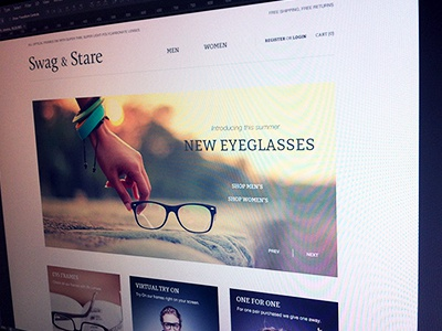 Swag & Stare - homepage redesign design website calluna home page simple shop swag stare homepage redesign eyeglasses polycarbonate lenses optical frames sunwear light thin clean bitter white web design web
