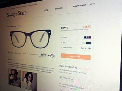 Swag & Stare - product page swag stare detail product redesign eyeglasses polycarbonate lenses optical frames sunwear light thin clean design white web design web