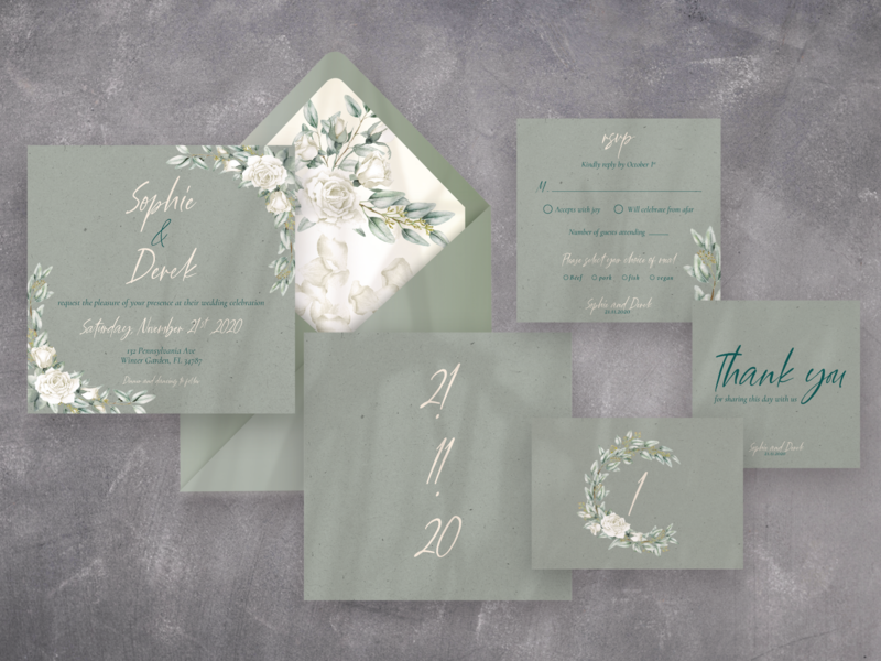 Rustic Wedding Stationery ! wedding card green  white rustic event party card invitation wedding invitation wedding