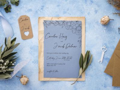 Caroline & Jacob Invite blue event card invitation wedding invitation wedding