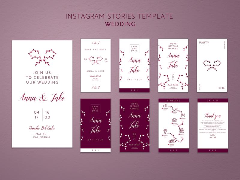 Instagram Stories Template - Wedding design stories event wedding instagram template instagram stories instagram