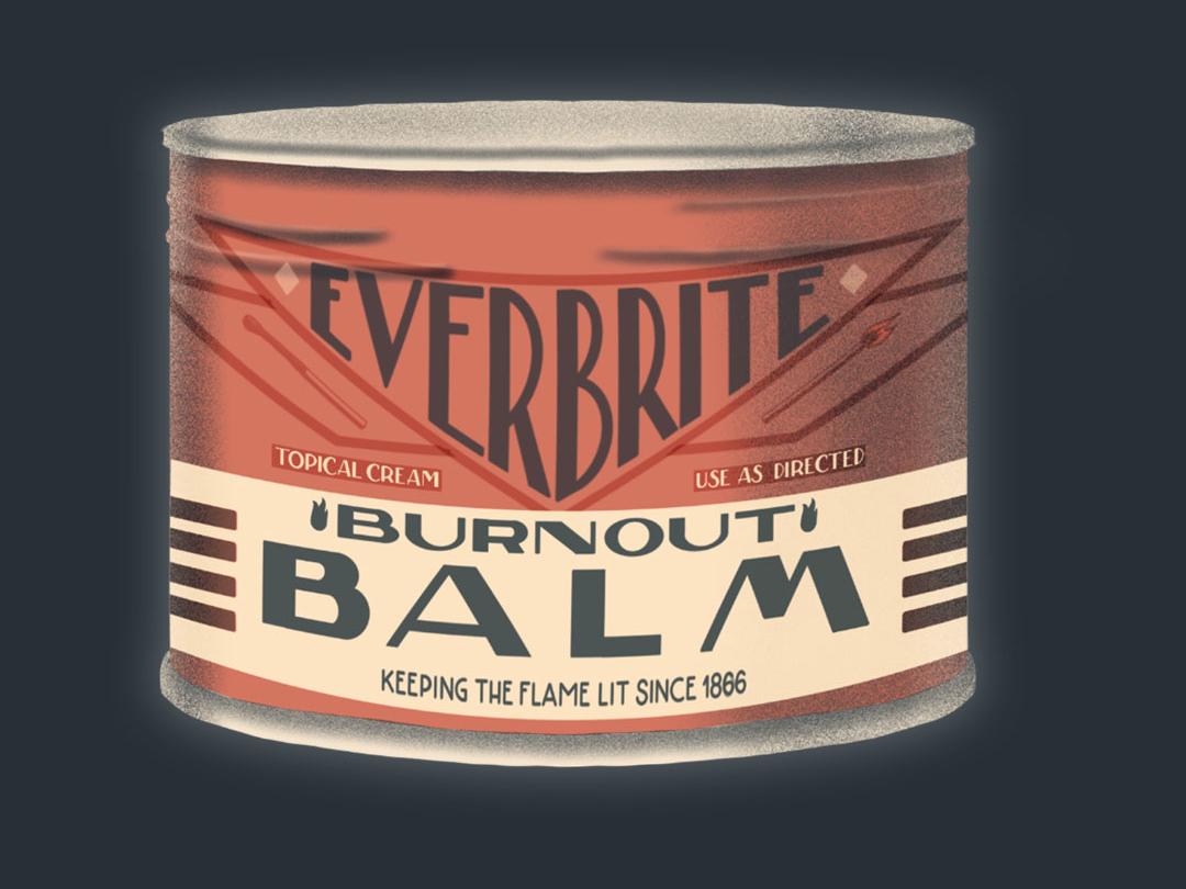 Burnout Balm Packaging Illustration logo illustration typography art deco design type lettering