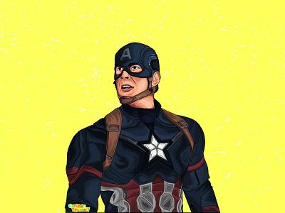 Illustration of first avenger captain America character art vector logo ui cartoon portrait caricature artwork illustration design
