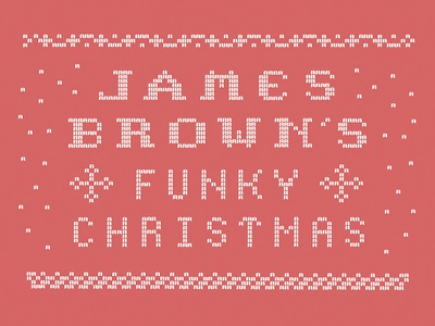 James Brown's Funky Christmas sweater woven typography type christmas red white stitch snow winter