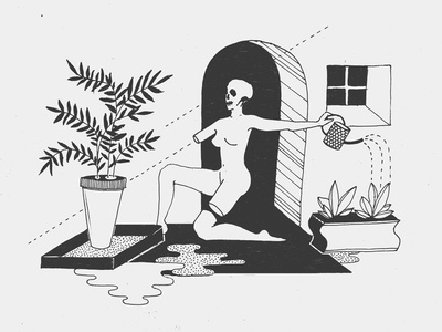 Midday Musings life death ink illustration drawing