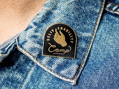 Enamel Pin for Deliverability Camp product design denim pin enamel